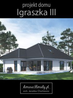 """Projekt małego parterowego domu na wąską działkę o minimalnej szerokości 17,75 m. """"Igraszka 3"""" posiada dużą kuchnię ze spiżarnią oraz salon wygodnie mieszczący jadalnię i część wypoczynkową z dużym,zacisznym tarasem. Wejście do domu wyposażone jest w przedsionek wygodnie mieszczący szafę i miejsca do siedzenia. Obok znajduje się kotłownia,WC i garderoba. W głębi domu położone są łazienka i trzy sypialnie. Największa z nich posiada wyjście do ogrodu. Pool Designs, Outdoor Decor, Table, House, Home Decor, Houses, Architecture, Homemade Home Decor, Tables"""