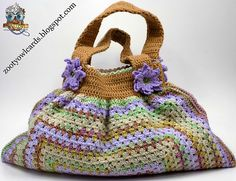 """I wanted a bag that didn't look quite as casual as the ever popular """"Fat Bottom Granny Bag"""", with a separate lining that could be worked into the bag without sewing through the crochet square, and with neat, sturdy handles."""