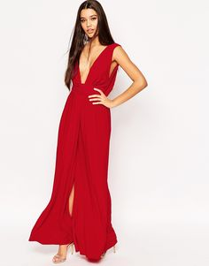 Image 1 of ASOS Drape V Neck Belted Maxi Dress