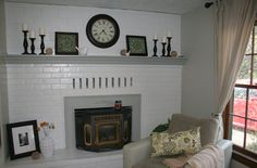 paint the fireplace... I want to do this!!! Maybe not glossy tho...