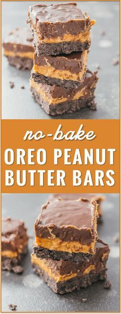 These no-bake Oreo peanut butter bars with chocolate chips are an easy summertime dessert with three delicious layers. recipe, cream cheese, healthy, 6 ingredients, squares, oatmeal, without graham crackers, via @savory_tooth