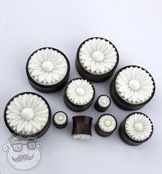 Sono Wood Plugs With Carved Bone Daisy Flower by UrbanBodyJewelry