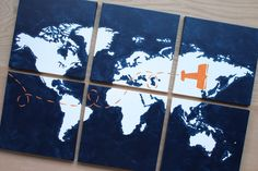 """come fly with me. world map with airplane. 6- 12""""x12"""" canvas. custom colors . match your decor. oh the places you will go. navy orange gray.DIY"""