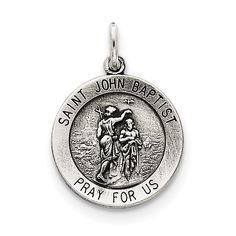 Sterling Silver Antiqued Saint John the Baptist Medal by Versil