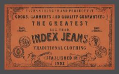Etiqueta - Index Jeans, via Flickr. Label Tag, Clothing Tags, Fashion Tag, Tag Design, Hang Tags, Traditional Outfits, Jeans, Crafting, Packaging