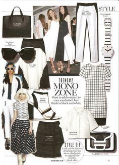 Mono Zone Monochrome Trend Board for Marie Claire Magazine featuring Chanel, Sportmax, Boss & Michael Kors