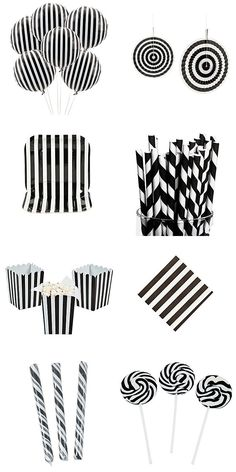 Black & White party supplies: balloons, hanging fans, paper plates, straws, popcorn boxes, napkins, candy sticks & swirl pops.