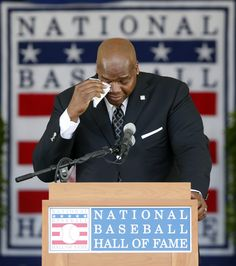 Frank Thomas wipes tears away during his speech Sunday. (AP Photo) Congrats Big Hurt!