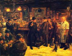 """John French Sloan (American new realist): McSorley's Cats - 1929 """" John French Sloan (August 1871 – September was a twentieth-century painter and etcher and one of the founders of the Ashcan school of American art. American Realism, American Art, Impressionist Art, Impressionism, Spring Rain, Georg Trakl, Ashcan School, Bar Scene, Most Famous Artists"""