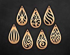 Faux leather earrings Set, Tear drop Pendant laser cut templates, Cutting File / SVG, DXF Cricut maker/Silhouette Cameo bijouterie design #2