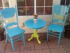 My parents old furniture that I Upcycled to patio set. 2 cans aqua vaslpar and one can bright green spraypaint. Use Outdoor Spray paint and optional clear coat to protect from weathering.