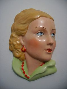 RARE Art Deco Lady Wall Face Mask Plaque Czechoslovakia Royal Dux Czech | eBay