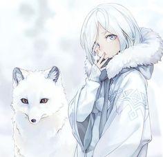 winter girl & arctic fox With images Аніме