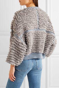 Sky-blue and light-gray bouclé-knit Slips on 75% acrylic, 15% wool, 10% alpaca Dry clean