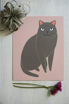 Hey, I found this really awesome Etsy listing at https://www.etsy.com/listing/203742887/pink-cat-illustration-cat-art