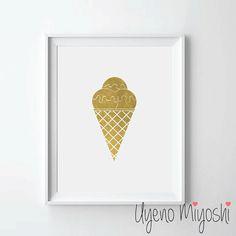 Crème glacée II clinquant d'or Print Print or impression