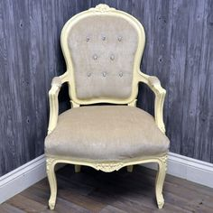 Antique Cream Finish French Style Louis Arm Chair with Velvet Fabric