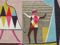 HARLEQUIN-esque 50s Mid Century Modernist Fashionista RARE VTG Barkcloth Fabric