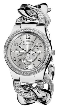 Akribos Women's Quartz Multifunction Crystal Accented Twist Chain Watch in silver ♥✤ | Keep the Glamour | BeStayBeautiful