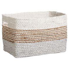 Shop Shimmer Stripe Bin, Silver/Natural, Medium and Bathroom Laundry Baskets, Laundry Hamper, Laundry Room, Lilac Bedding, Baskets For Shelves, Pottery Barn Kids Backpack, Emily And Meritt, Room Ideas Bedroom, Room Decor