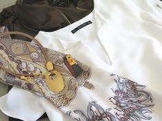 Aux Pays de Epices Hermes scarf with Zara wardrobe pieces and MaiTai Collection pendant necklace