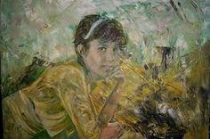 Schilderij aan winnares loterij #blastthewalls overhandigd #art #green #portrait