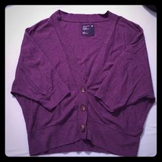 EUC Purple 3/4 sleeve batwinged cardigan Excellent used condition! No rips or stains, only worn a handful of times. All buttons in tact and fully functional (buttons are brown). Pet and smoke free home. (Sorry it looks a little wrinkled, it's been stored away in my drawer for a while) American Eagle Outfitters Sweaters Cardigans