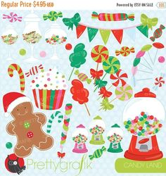 80% OFF SALE Christmas Candy clipart commercial use, candy land vector graphics, digital clip art, digital images - CL709