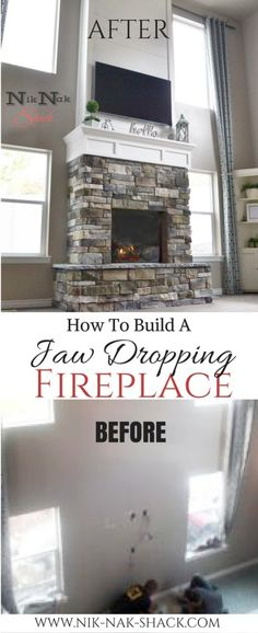 Incredible DIY Fireplace with Stone & Shiplap! - See the process Step by step - Nik Nak Shack