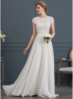A-Line / Princess Scoop Neck Sweep Train Chiffon .- A-Linie/Princess-Linie U-Ausschnitt Sweep/Pinsel zug Chiffon Brautkleid (€ A-Line / Princess Scoop Neck Sweep Train Chiffon Wedding Dress - Western Wedding Dresses, Modest Wedding Dresses, Wedding Dress Styles, Bridal Dresses, Wedding Gowns, Lace Wedding, Event Dresses, Summer Wedding, Dresses 2016