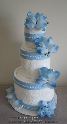 Cake, White, Centerpiece, Blue, Wedding shower towel cakes and Bridal Shower Gifts, Baby Shower Gifts, Bridal Showers, Wedding Towel Cakes, Wedding Cake, Pamper Cake, Blackberry Cake, Auction Baskets, Nappy Cakes