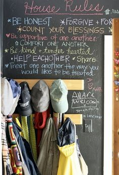 great chalkboard wall with great rules.