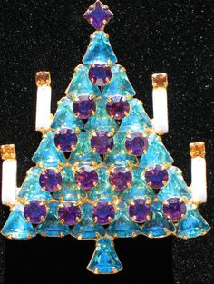 """VINTAGE DOMINIQUE Blue Purple Rhinestone Christmas Tree Pin Brooch 2 1/2"""" Layers #DOMINIQUE #PinBrooch"""