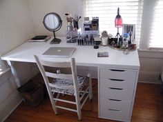 White IKEA Vanity Makeup Table with ALEX Drawer and LINNMON table ...