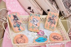 Character cookies from Vintage Alice in Wonderland Birthday Party at Kara's…