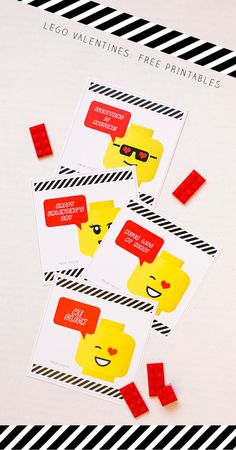 Lego Valentines: 2 Sheets of Free Printable Designs for Classroom Valentine Cards