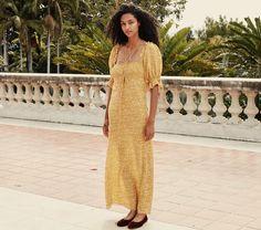 VETIVER DRESS -- GOLDEN MINI EARL FLORAL