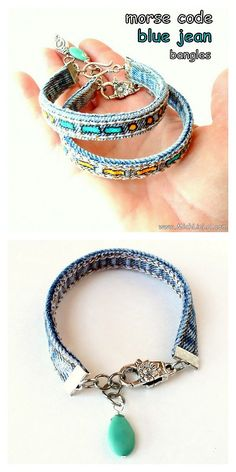 DIY Jean Seam Morse Code Bracelet Tutorial from Mich L. in L.A. here.I actually like these plain - with no painted morse code. Really easy tutorial that uses ribbon crimp ends. I love Morse Code jewelry and have other DIYs posted here:truebluemeandyou.tumblr.com/tagged/morse-code