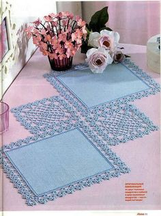 Discover thousands of images about ANNA 2006 - Daniela Muchut - Álbumes web de PicasaThis Pin was discovered by HUZDoily was crocheted and embroi Filet Crochet, Crochet Quilt, Crochet Doily Patterns, Crochet Borders, Crochet Diagram, Crochet Squares, Crochet Home, Thread Crochet, Crochet Designs