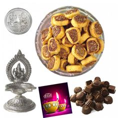 Silver Brass Plated Ganpati Diya With Moti Bhakharwadi Namkeen Diyas combo, Sweet Gift for everyone in this hamper.Treat your loved ones to a rich assortment of uniquely blended. This is a item thus slight variation may occur in terms of color and design.  Silver Brass Plated Ganpati diya - 1 Pcs Moti Bhakharwadi Namkeen - 500 Gms  Homemade Chocolate Hamper Silver Plated Laxmi-Ganesha Coin - 1 pcs Home made chocolate Box.- 12 Pcs Diwali Greeting Card - 1