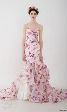 anny lin bridal 2016 vasanti strapless multi color floral print mermaid wedding dress sweetheart neckline pleated surplice