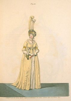 1790's fashion plate. From the Gallery of Fashion, March 1796.