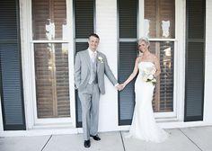 David's Bridal bride in a strapless column gown.