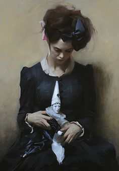 """Dolls"" - Nick Alm (b. 1985), oil on canvas {figurative art #impressionist bowed head female seated woman cropped painting} nickalm.com Style resembles ""Lady Marjorie Manners"" by James Jebusa Shannon (1862-1923). #loveart"