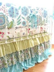 abby's--- make ruffled layered bedskirt and valance out of different print fabric to coordinate with old quilt