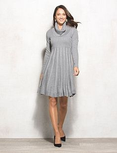 Shimmer Cowl Neck Flared Sweater Dress