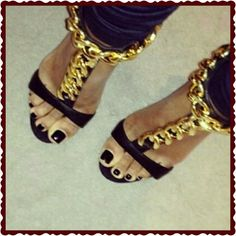 """1 HRNew never worn black Sandals with Gold Sale Infamous Heels and """"Gold chains""""  new never worn,  I received 2 pair as gifts,  I'm not certain if authentic, I was not told nor did I ask,  from my experience I would say no they aren't, but they are SO BEAUTIFUL!  They are True to size GZ Shoes Sandals"""