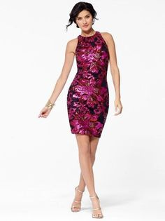 CACHE Sexy NWT Floral Sequin Sheath Evening Cocktail Party Dress 4  S #CACHE #Sheath #Cocktail