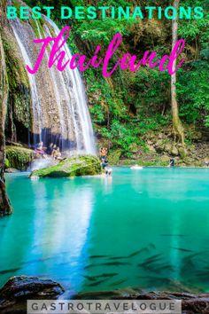 9 of the best destinations in Thailand Thailand Destinations, Thailand Travel Guide, Visit Thailand, Amazing Destinations, Asia Travel, Travel Destinations, Phuket Thailand, Phi Phi Island, Erawan National Park