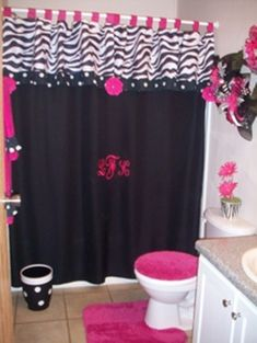 zebra bathroom decorating ideas black and pink bathroom shower curtain and 22798